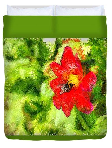 Bumblebee On The Flower - Da Duvet Cover