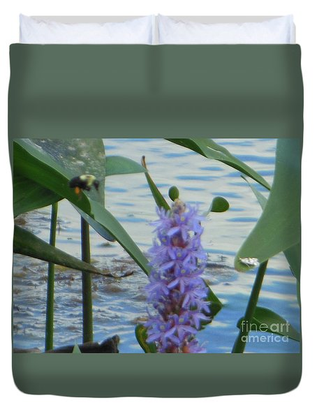 Bumblebee Pickerelweed Moth Duvet Cover