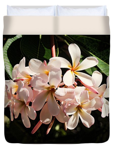 Bunch Of Plumeria Duvet Cover by Pamela Walton