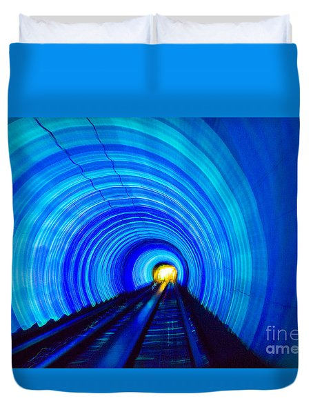 Duvet Cover featuring the photograph Bund Tunnel Lights by Angela DeFrias