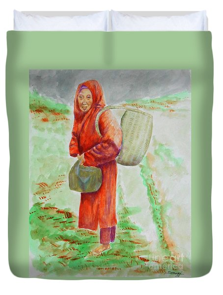 Bundled And Barefoot -- Portrait Of Old Asian Woman Outdoors Duvet Cover
