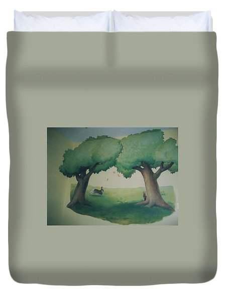 Bunnies Running Under Trees Duvet Cover