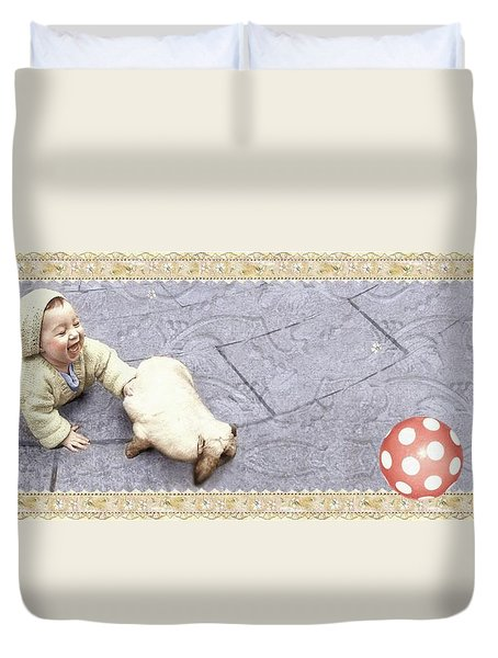 Baby Chases Bunny Duvet Cover