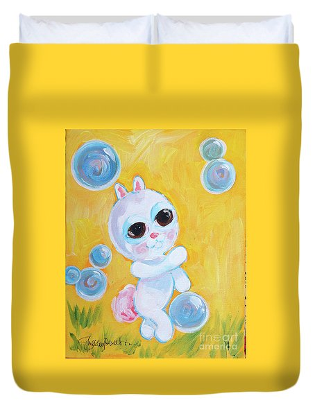 Bunny And The Bubbles Painting For Children Duvet Cover by Shelley Overton