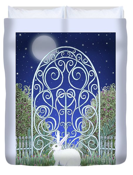 Bunny, Gate And Moon Duvet Cover