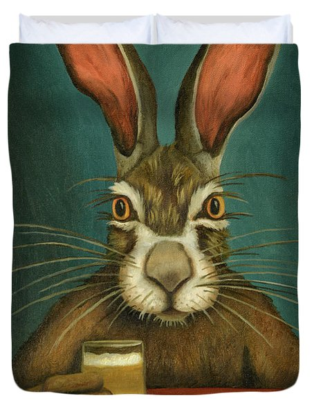 Duvet Cover featuring the painting Bunny Hops by Leah Saulnier The Painting Maniac