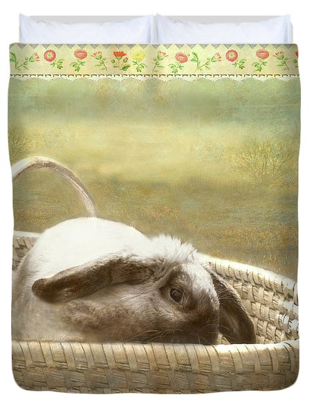 Bunny In Easter Basket Duvet Cover