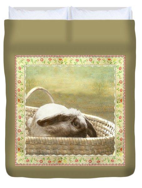 Bunny In Easter Basket Duvet Cover