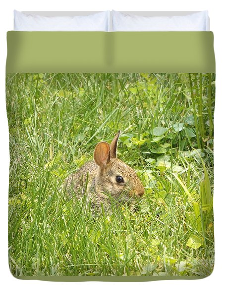 Bunny In The Grass Duvet Cover