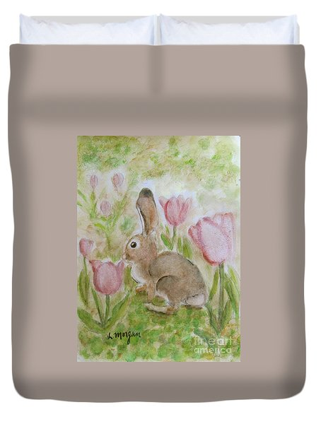 Bunny In The Tulips Duvet Cover