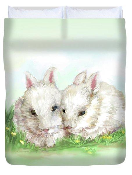 Bunny Love In Color Duvet Cover