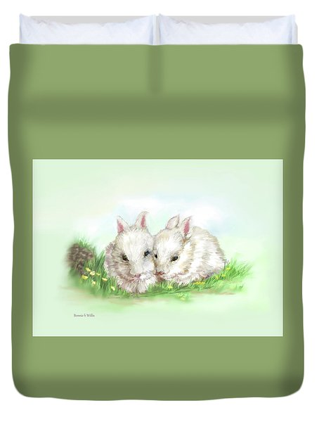 Bunny Love In Color Duvet Cover