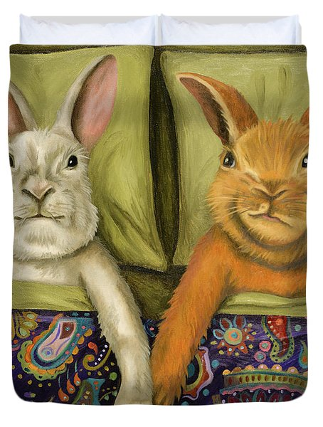 Duvet Cover featuring the painting Bunny Love by Leah Saulnier The Painting Maniac