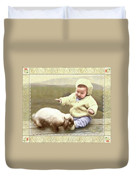 Bunny Nuzzles Baby's Toes Duvet Cover