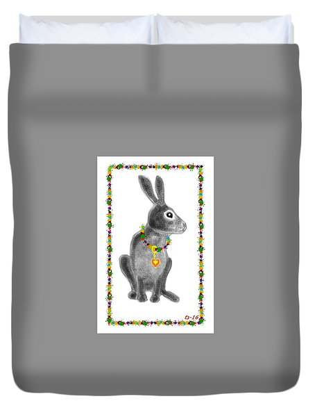 Bunny Post Card Duvet Cover