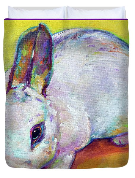 Duvet Cover featuring the painting Bunny by Robert Phelps