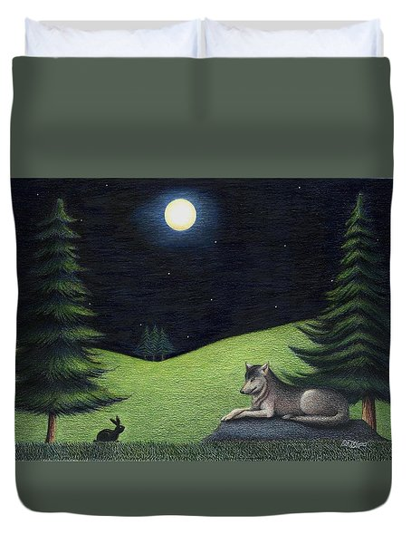 Bunny Visits Wolf Duvet Cover