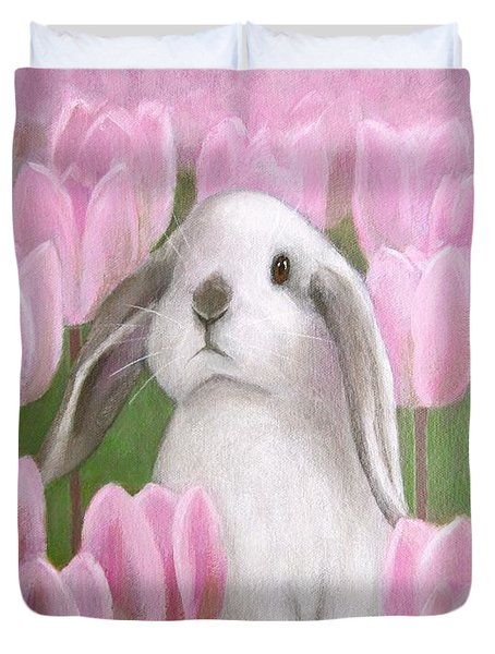 Bunny With Tulips Duvet Cover