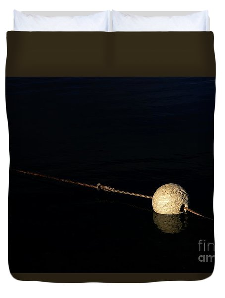Duvet Cover featuring the photograph Buoy At Night by Stephen Mitchell