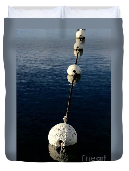 Duvet Cover featuring the photograph Buoy Descending by Stephen Mitchell