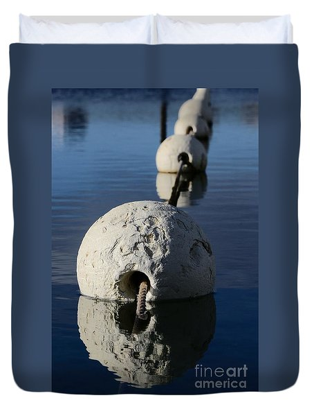 Duvet Cover featuring the photograph Buoy In Detail by Stephen Mitchell