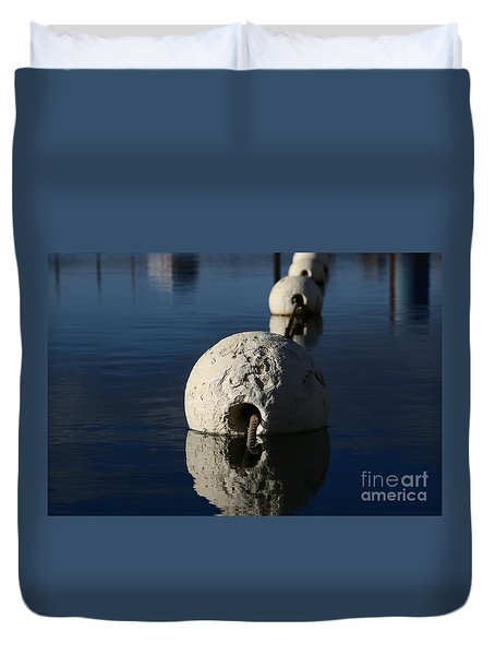 Duvet Cover featuring the photograph Buoy Upfront by Stephen Mitchell