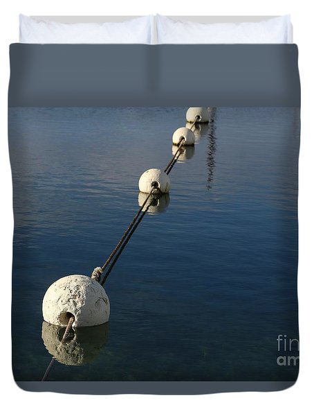 Duvet Cover featuring the photograph Buoys In Aligtnment by Stephen Mitchell