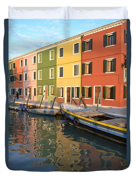 Duvet Cover featuring the photograph Burano Italy 1 by Rebecca Margraf