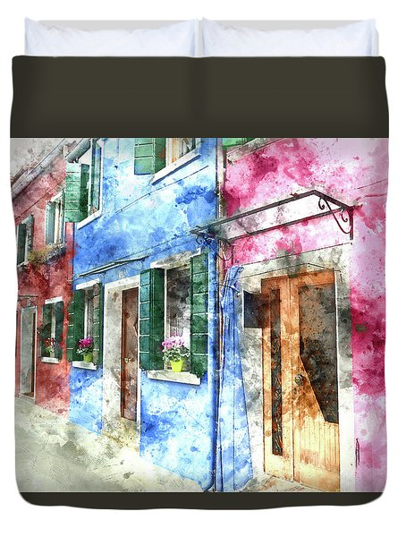 Burano Italy Buildings Duvet Cover