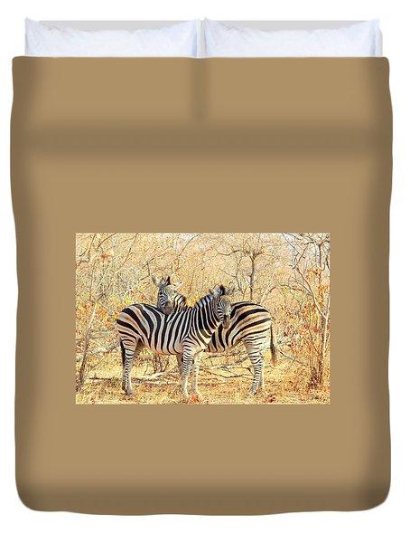 Burchells Zebras Duvet Cover by Betty-Anne McDonald