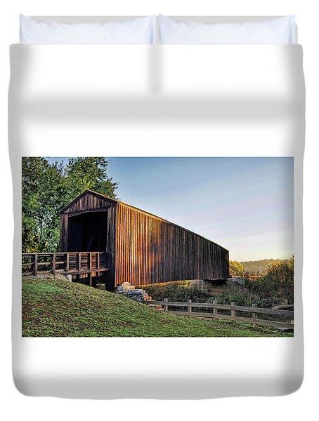 Duvet Cover featuring the photograph Burfordville Covered Bridge by Cricket Hackmann