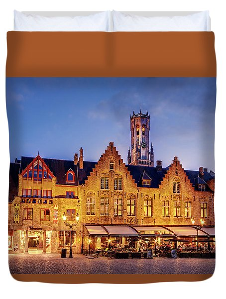 Duvet Cover featuring the photograph Burg Square Architecture At Night - Bruges by Barry O Carroll