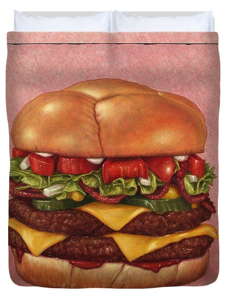 Duvet Cover featuring the painting Burger by James W Johnson