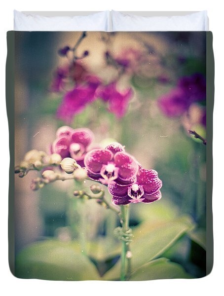 Duvet Cover featuring the photograph Burgundy Orchids by Ana V Ramirez