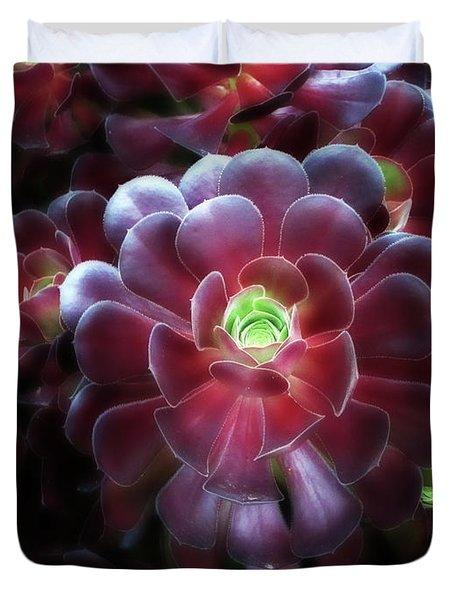 Burgundy Succulenta Duvet Cover by Douglas Barnard