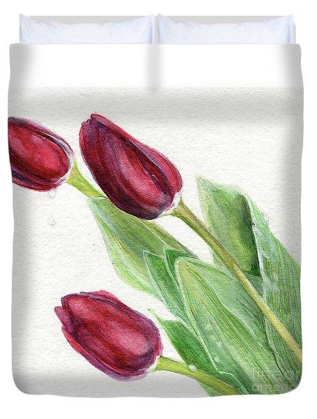 Burgundy Tulips Duvet Cover
