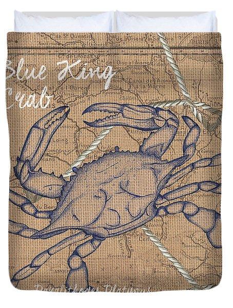 Burlap Blue Crab Duvet Cover