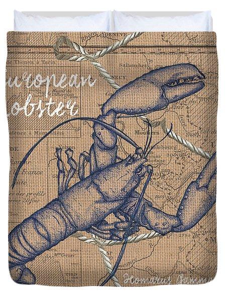 Burlap Lobster Duvet Cover