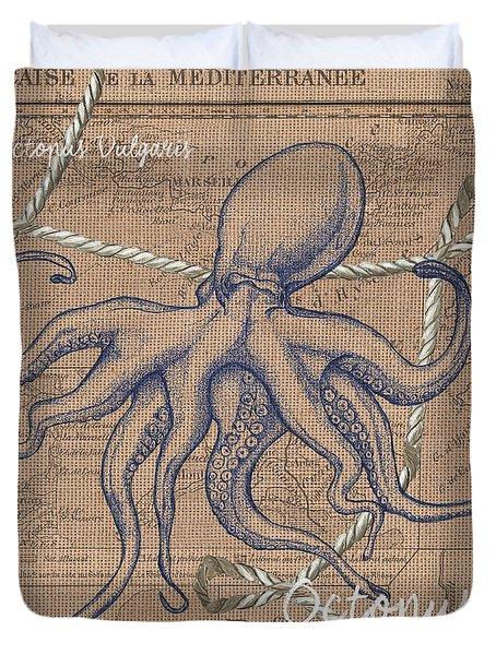 Burlap Octopus Duvet Cover