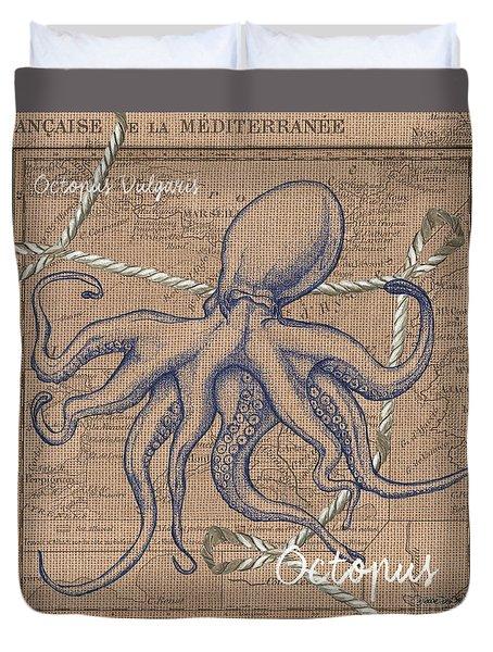 Burlap Octopus Duvet Cover by Debbie DeWitt