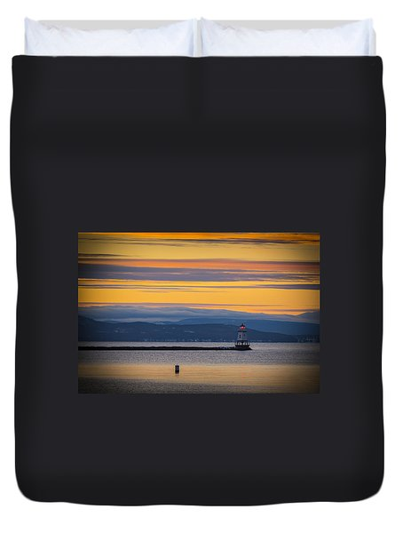 Burlington Lighthouse Sunset Duvet Cover