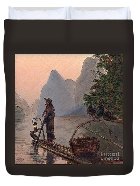 Li River Night Fisherman Duvet Cover