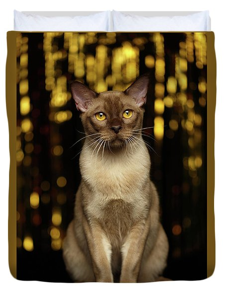 Burmese Cat Sits On New Year Background Duvet Cover
