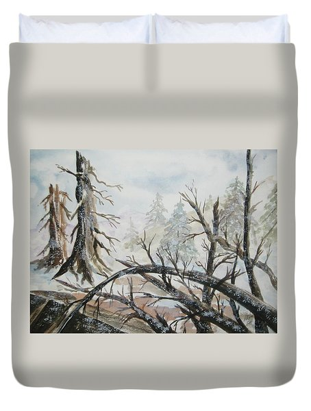 Duvet Cover featuring the painting Burned Forest In The Snow by Ellen Levinson