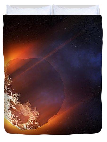 Burning Asteroid Entering The Atmoshere Duvet Cover