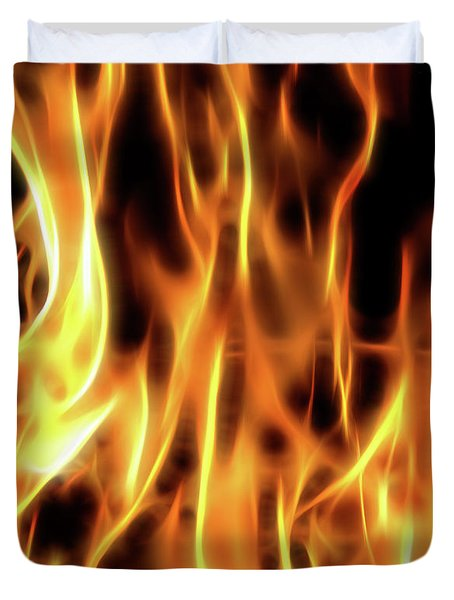 Burning Flames Fractal Duvet Cover