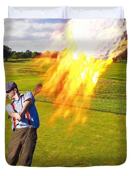 Burning Golf Ball Duvet Cover