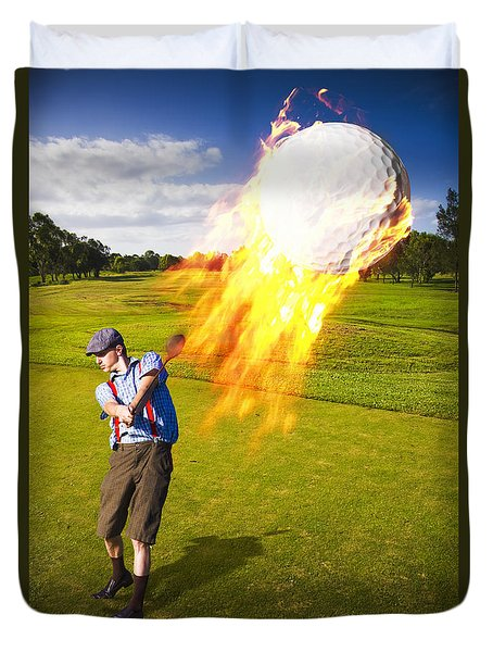Burning Golf Ball Duvet Cover