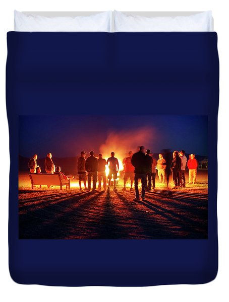 Duvet Cover featuring the photograph Burning Grains Of Rocket Fuel by Peter Thoeny