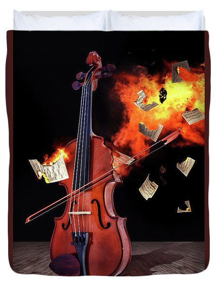 Burning With Music Duvet Cover